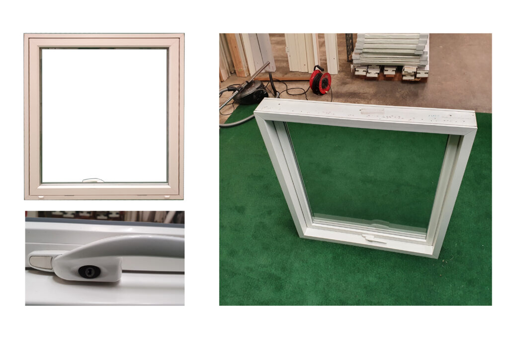 PVC vindue med lås i klart glas