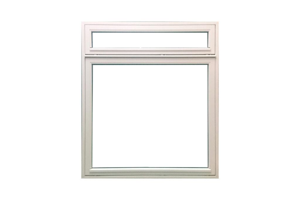 Stort hvidt vindue i træ og glas