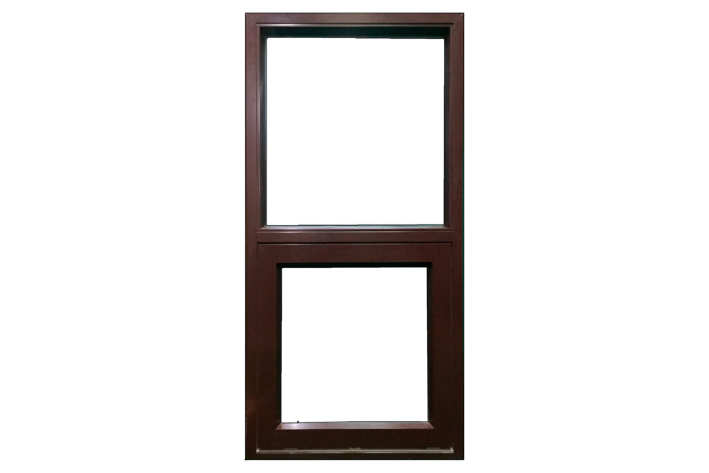 Mørkebrunt vindue med fastkarm